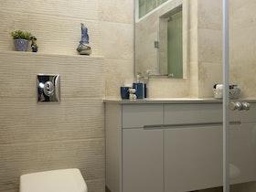 חדר שירותים עם מקלחת