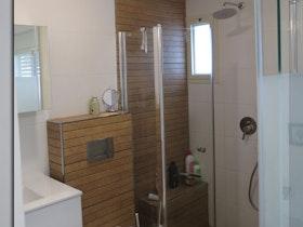 צילום של שירותים בצבע חום