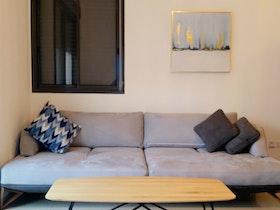 ספת דו מעוצב בסלון עם שולחן סלון ושטיח