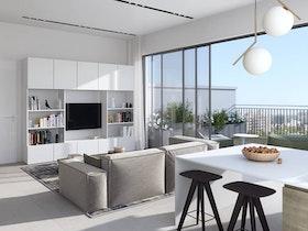 הדמייה של דירה חדשה בבניין חדש