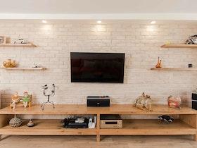 מזנון עץ ארוך לטלוויזיה