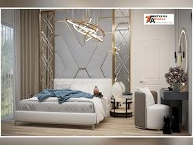 מיטה זוגית עם מזרן ורקע אפור