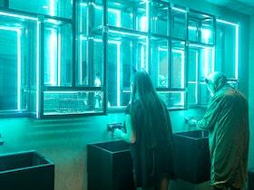 שירותים מעוצבים עם אורות לדים