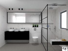 הדמיית מקלחת עם קרמיקה