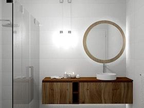 מקלחת עם ארונית חומה