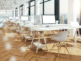 משרד עם שולחנות עבודה. על כל שולחן מסך מחשב ומחשב נייד לבן. ליד כל שולחן, שני כיסאות לבנים.