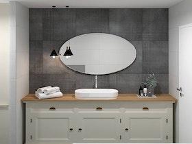 הדמיית מקלחת עם ארונית אמבטיה