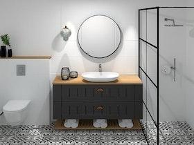 הדמיה של מקלחת משופצת