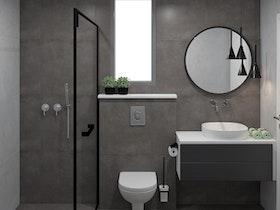 הדמיית מקלחת משופצת