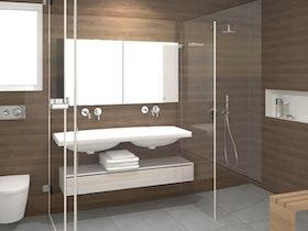 הדמיית מקלחת עם שירותים