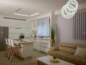 מקרר יחיד עם מטבח משופץ וסלון עם תאורה מסוגננת