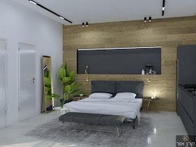חדר שינה עם ריהוט אפור ומיטה זוגית