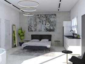 חדר שינה לאחר שיפוץ עם מיטה זוגית