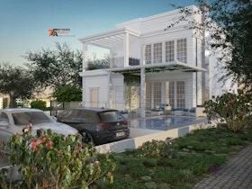 בית פרטי לבן מעוצב עם חניית רכבים