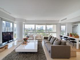 סלון עם ספה ארוכה בצבע אפור ושטיח מצר