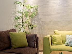 סלון ירוק וחום ושולחן סלון