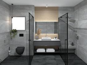 הדמייה של מקלחת אפור גרניט