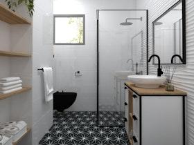 הדמייה של מקלחת לאחר שיפוץ ועיצוב