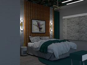 הדמיית מחשב של חדר שינה