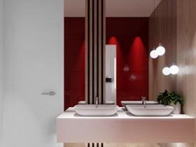 אמבטיה בסגנון מודרני, קווים מרובעים עם פסים