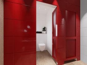 חיפוי מתכת לקיר בצבע אדום