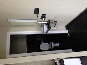 שירותים עם חיפוי קירות בריקים שחורים